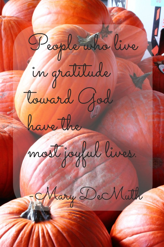 People who live in gratitude toward God have the most joyful lives. Mary Demuth