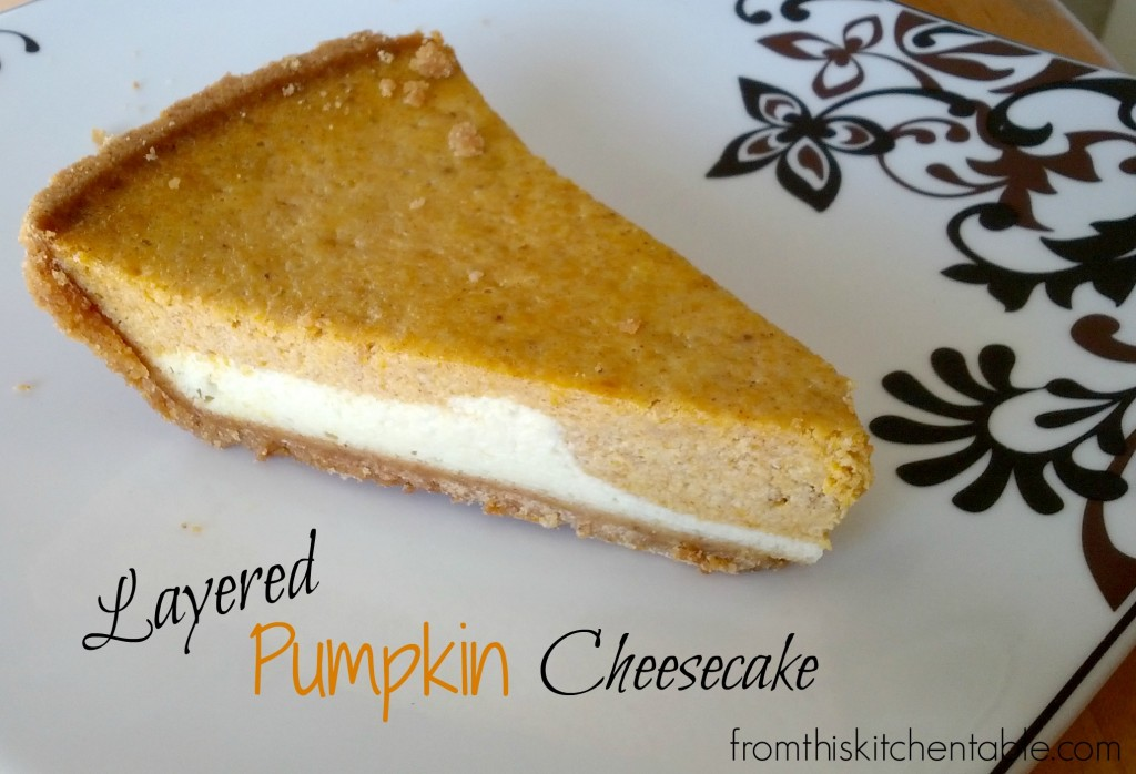 Layered Pumpkin Cheesecake. The perfect dessert to finish any meal. Uses a pie pan too - no special pan necessary!