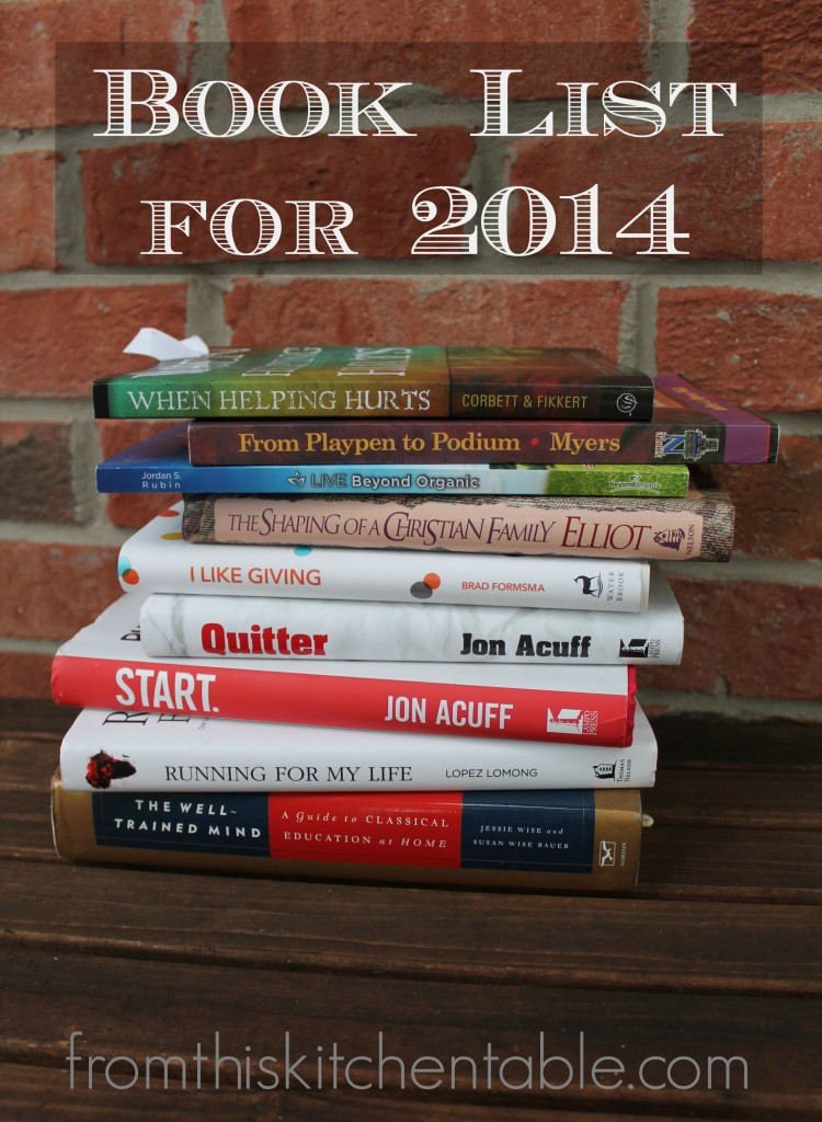 My book list for 2014. Jon Acuff, Elisabeth Elliot, Jesse & Susan Wise and more! Lots of good ideas.