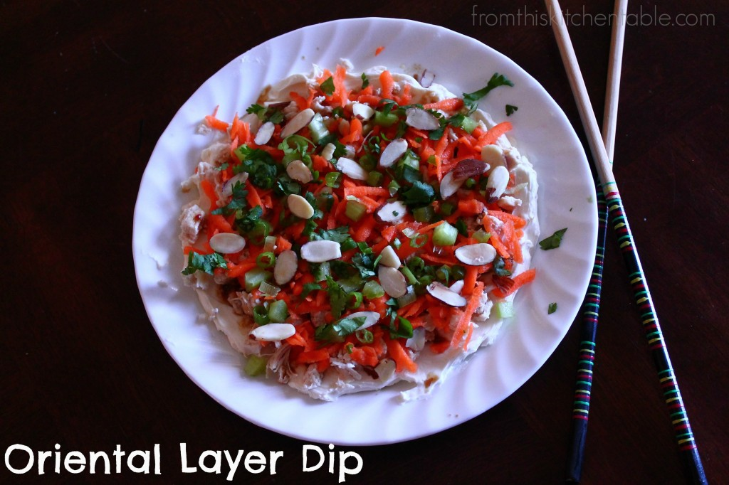 Such a fun twist on a layer dip. The oriental flare is refreshing. Perfect served with sesame crackers.
