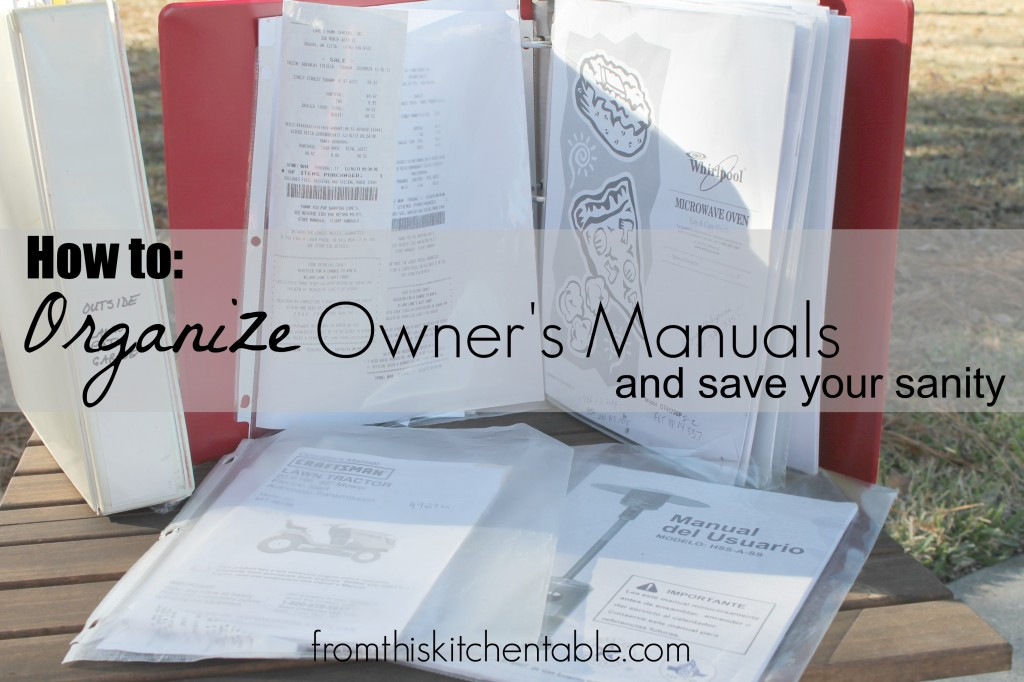 Genious way to organize all your owner's manuals. You can find what you need in seconds!