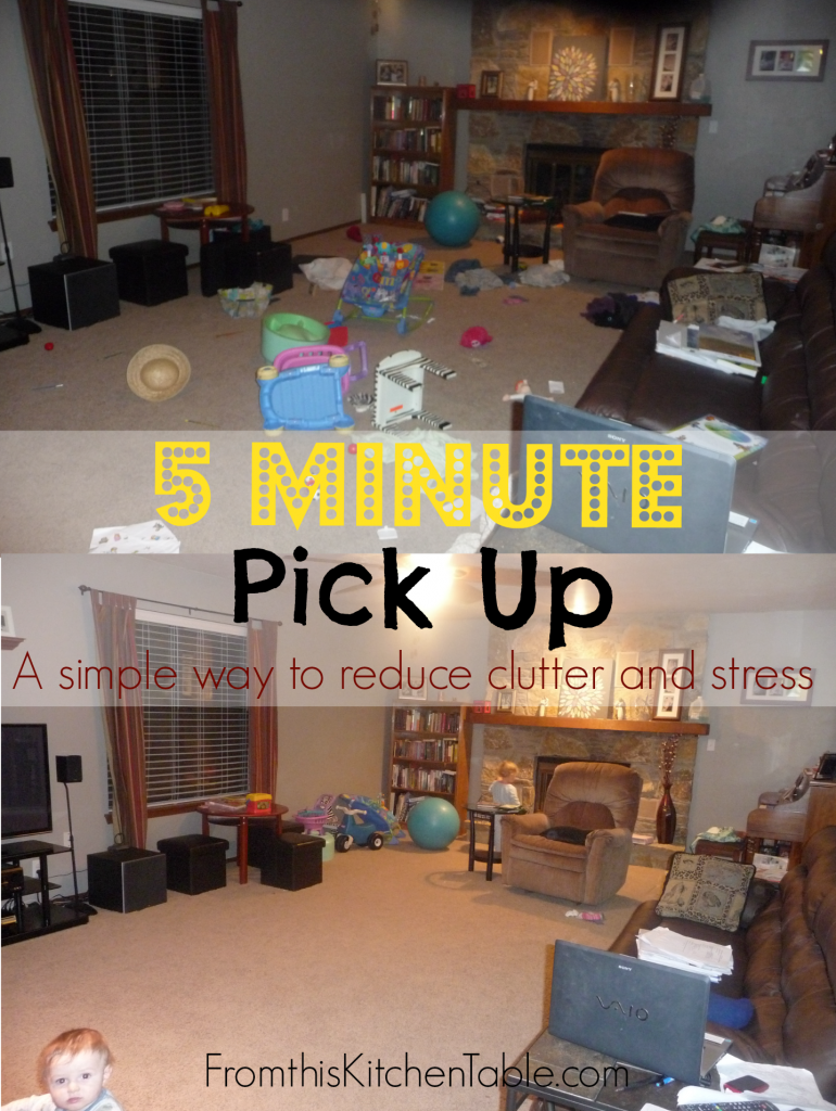 5 Minute Pick Up - a simple way to keep toys and clutter from taking over your house. We love doing this after supper each night.