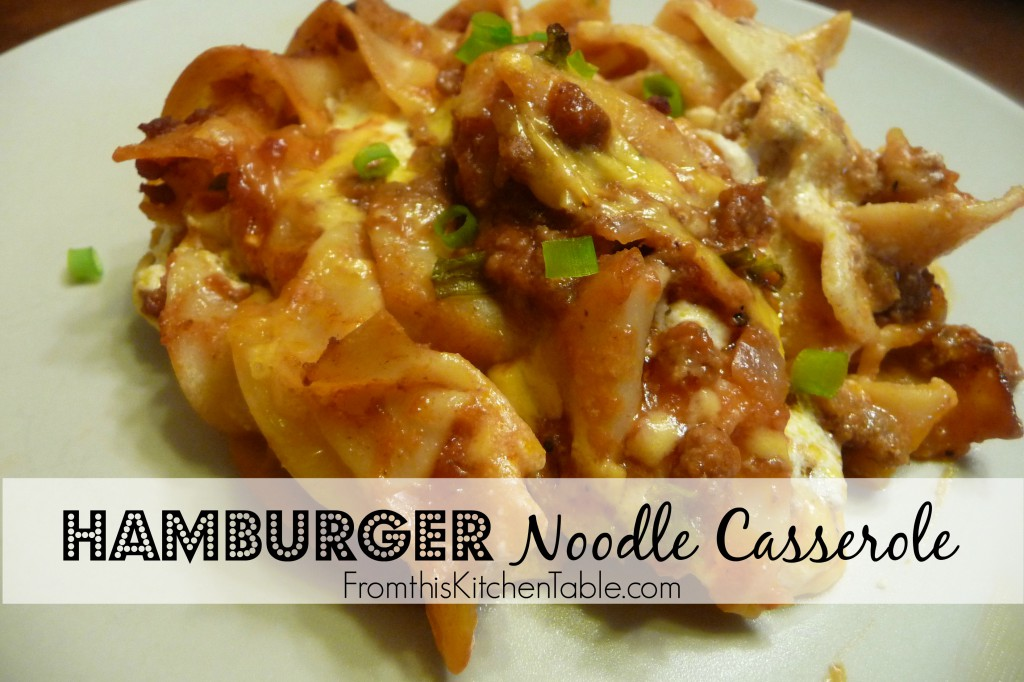 Hamburger Noodle Casserole. Freezes great and is kid friendly.
