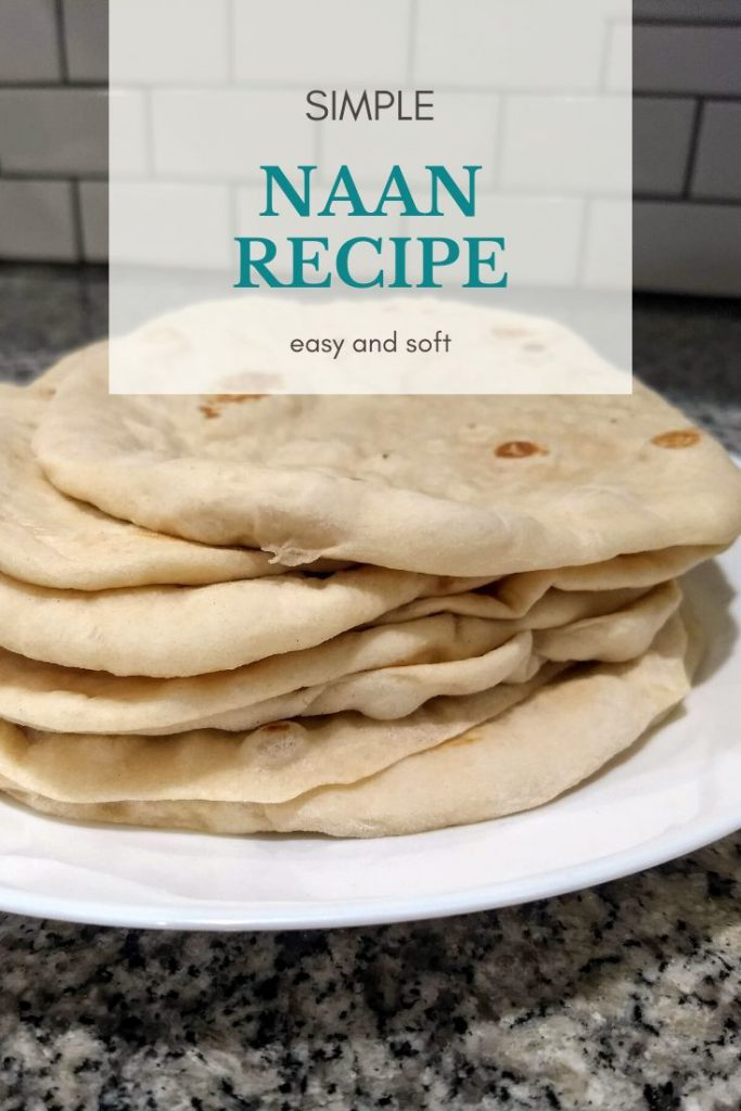 Homemade naan recipe stacked on a plate
