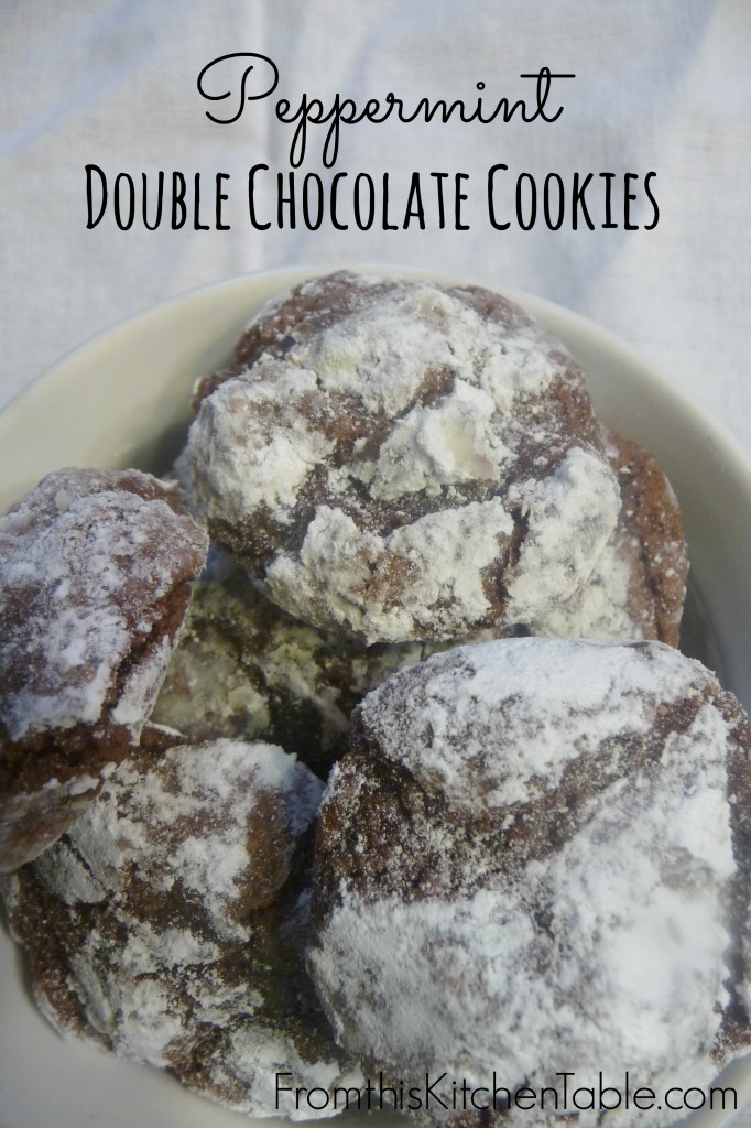 Peppermint Double Chocolate Cookies. These are one of my favorite cookies. The mint is the perfect addition.
