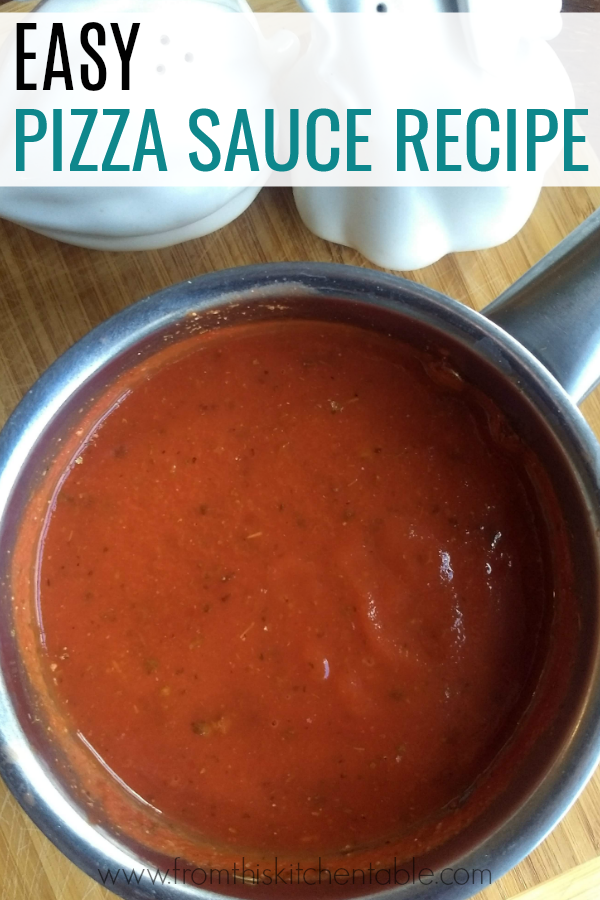 pan with the best easy pizza sauce recipe. Pizza night made tastier and simpler!