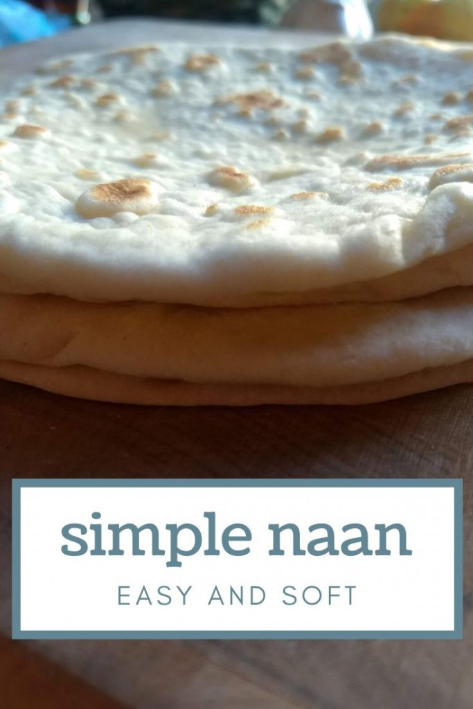 close up shot of a stack of homemade naan