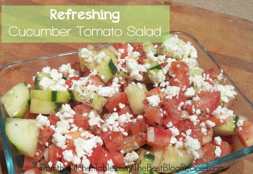 Refreshing cucumber tomato salad! My daughter and I love to have this for lunch all week long. Super yummy and easy.