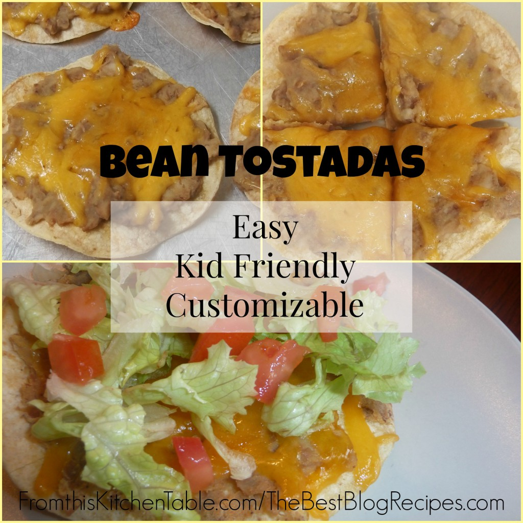 Bean Tostadas. Super simple meal your kids will eat up. I love that it can be dressed up for the adults.