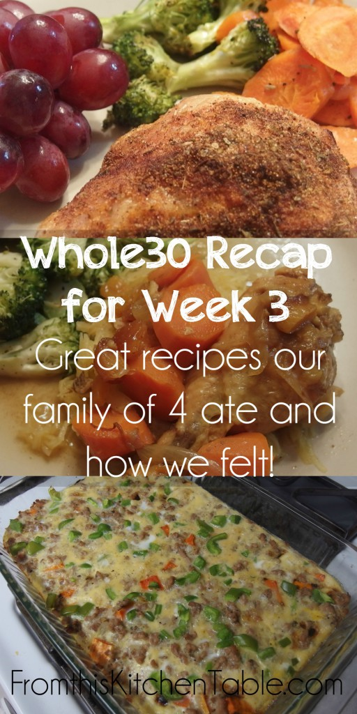 Whole30 Week 3 Recap! Great recipe ideas if you are doing a Whole30 or even are just trying to eat real food! She did it with a 1 1/2 and 3 1/2 year old too!