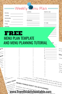 Free Menu planning template and guide!
