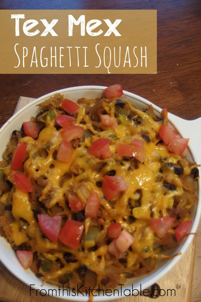 Super yummy and easy Tex Mex Spaghetti Squash! My FAVORITE spaghetti squash recipe - must make while it's squash season. (Can be vegetarian too!!!)