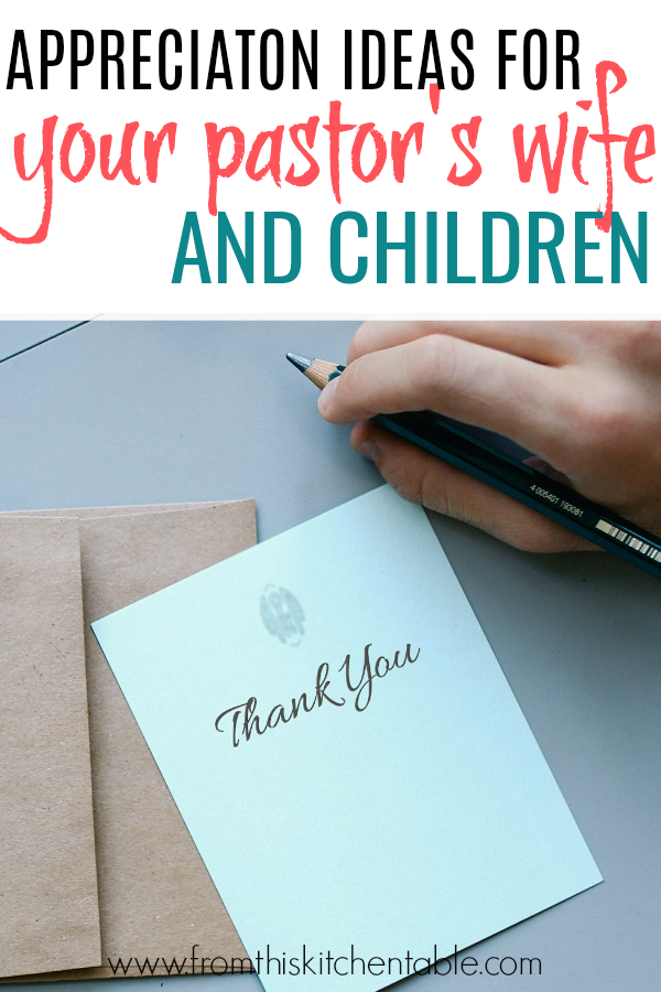thank you card and list of pastor's wife gifts