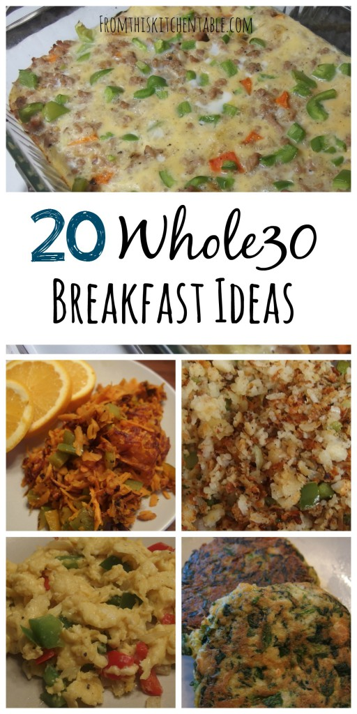 20 Whole30 breakfast ideas and recipes! Great resource for healthy breakfasts - the hardest for me to come up with recipes for. (My FAVORTIE breakfast casserole is on this list)