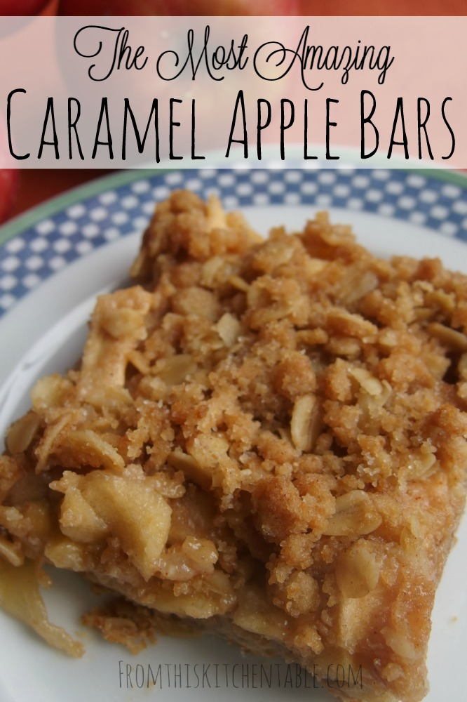 The most amazing caramel apple bars! I love these better than pie and crisp - it's that good. Perfect dessert for any meal and you can make the day before. Yum!