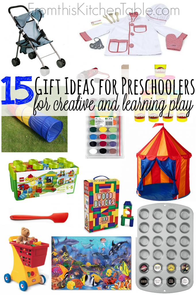 Great Gift Ideas for Preschoolers! Love these ideas - they all encourage their imagination and they'll use for a long time.