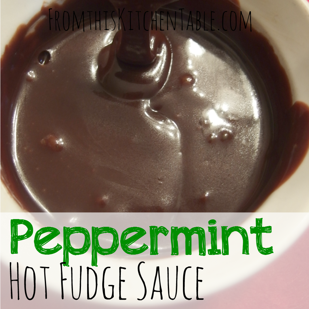 Peppermint hot fudge sauce. This sauce is the PERFECT addition to ice cream this time of year. I could eat it with a spoon.