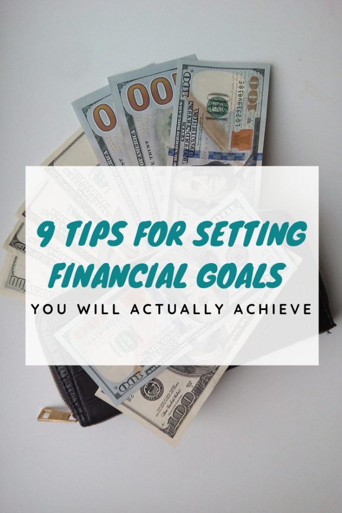 stack of $100 bills and graphic for how to set financial goals