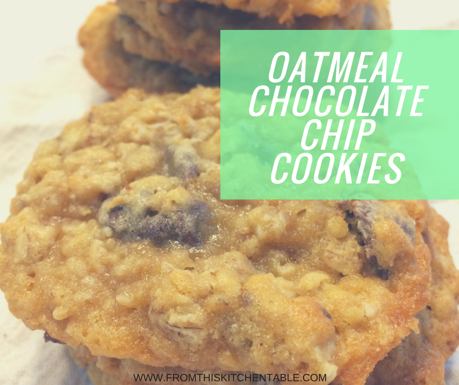 Delicious oatmeal chocolate chip cookie recipe. These cookies are buttery, thin, chewy and oh so good!