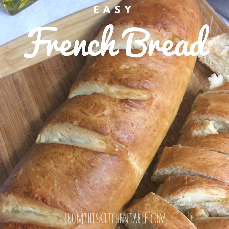 Homemade french bread on cutting board