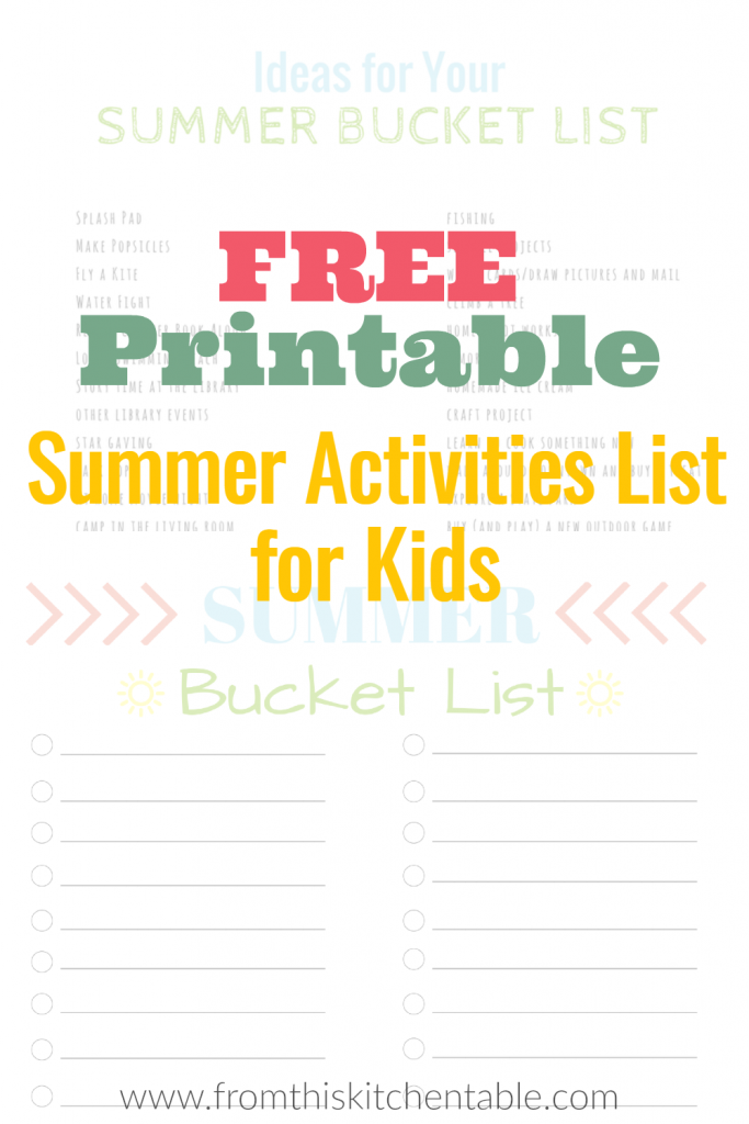 Great Free summer bucket list for kids printable