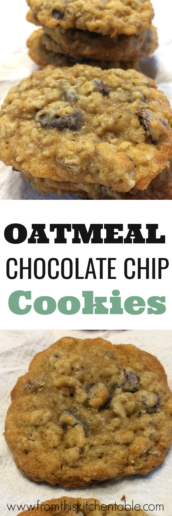 Super yummy oatmeal chocolate chip cookies. This recipes came from my grandma and the cookies and a thin and chewy perfection.