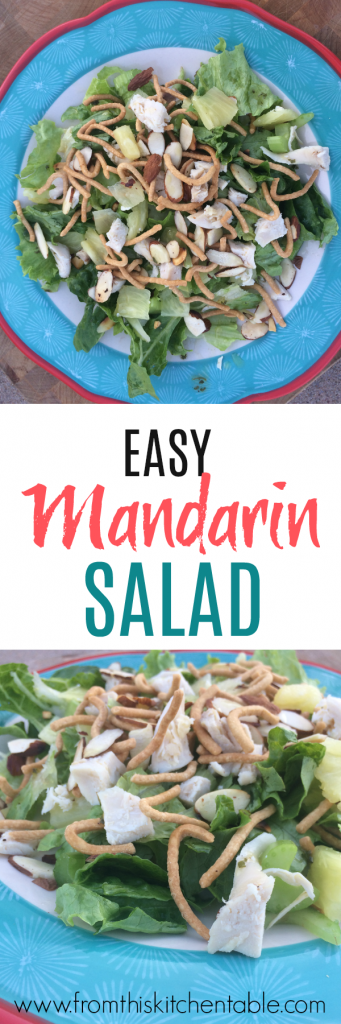 This easy mandarin salad is a delicious salad dinner option that's husband approved. We love the crunch of chow mein noodles and the sweetness of the pineapple. Yum!