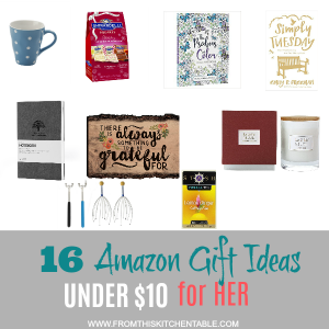Great list of cheap gift ideas for her! Perfect for your friend, sister, mom, coworker and they are all under $10 and on Amazon Prime!!! #frugal #gifts #giftideas #presents #budget #christmas #birthday #mom #sister #presentforher
