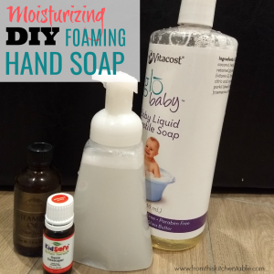 castile soap, essential oils, bottle to make foaming hand soap.