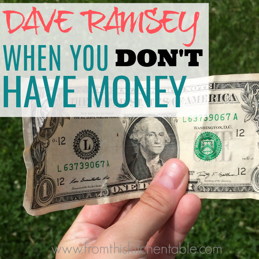 holding a $1 bill. Dave Ramsey when you don't have money.