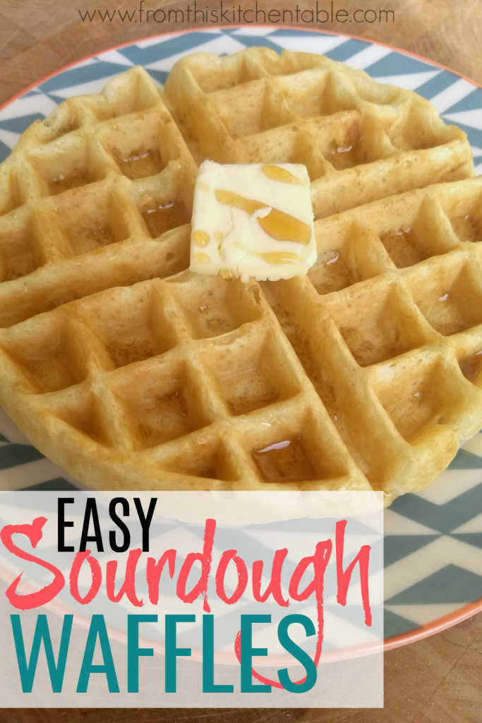 Easy Sourdough waffles with butter and maple syrup.