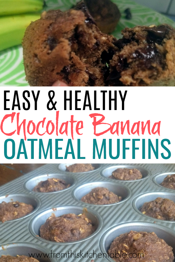 baked chocolate banana oatmeal muffins in tin and a muffin split in half