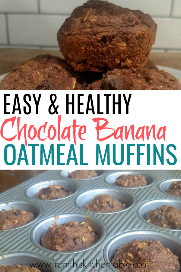 chocolate banana oatmeal muffins in tin and on a plate.