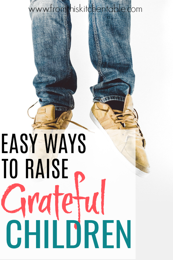 picture of boy jumping with text that says easy ways to raise grateful children