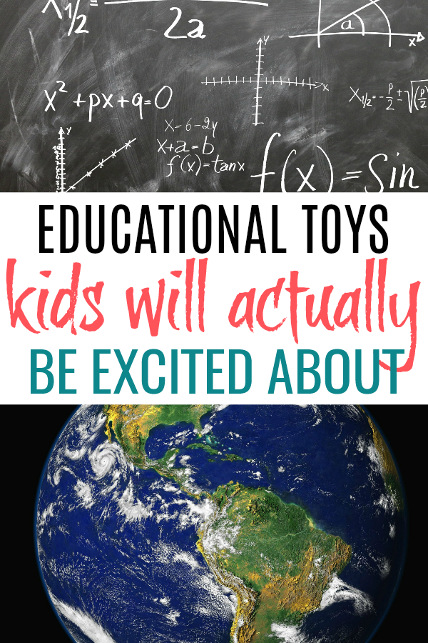 chalkboard and globe with list of educational toys for kids