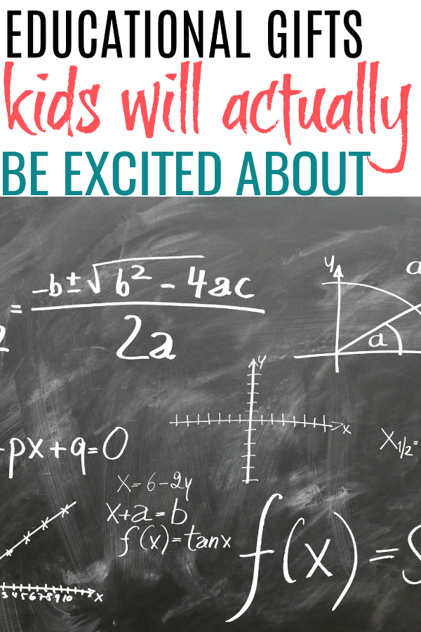 chalkboard and list of educational gifts for kids