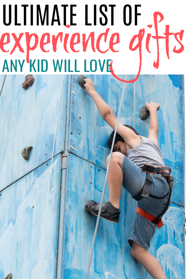 rock climbing and list of experience gifts for kids