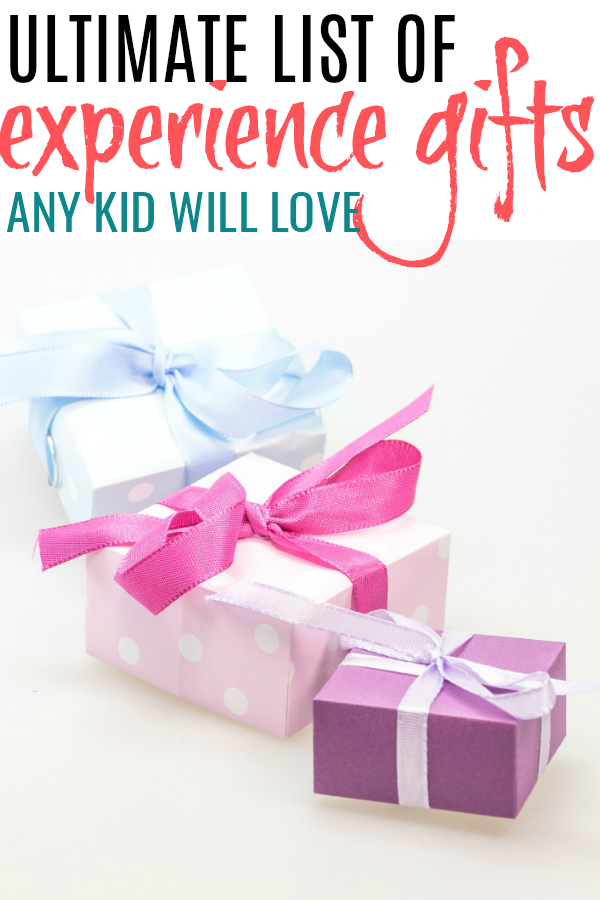 wrapped presents for experience gifts for kids