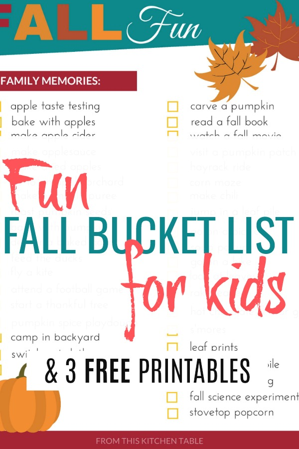 Pictures of 3 free printables on list of fun fall bucket list for kids