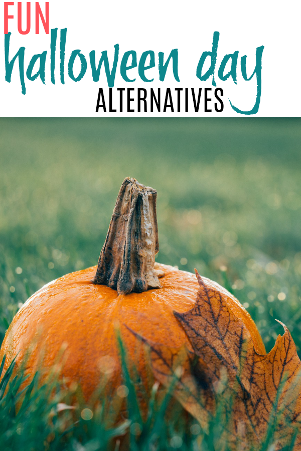 pumpkin and fall leaves talking about fun halloween alternatives