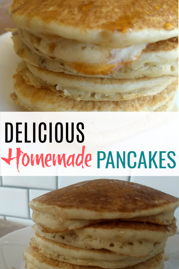 Homemade Fluffy Pancakes stacked on a plate is one of the best sights. Please make this! Amazing recipe.
