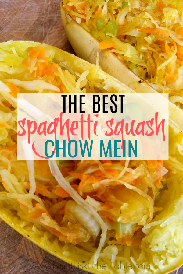 spaghetti squash chow mein in the shells. this recipe is so good and healthy!