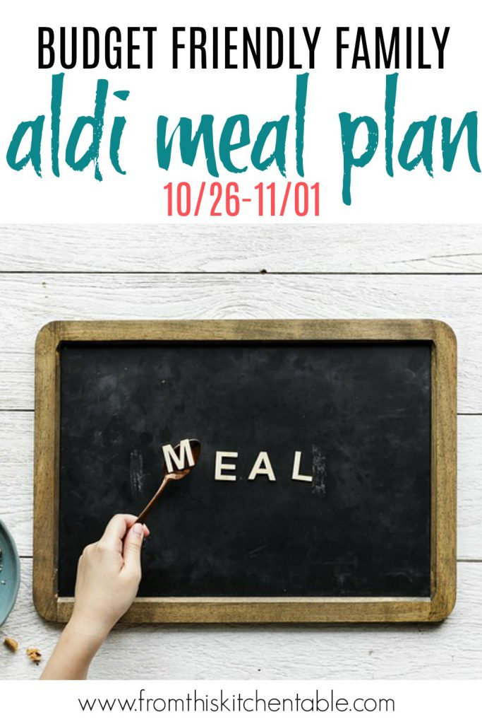 Meal plan chalkboard for a budget friendly Aldi meal plan!