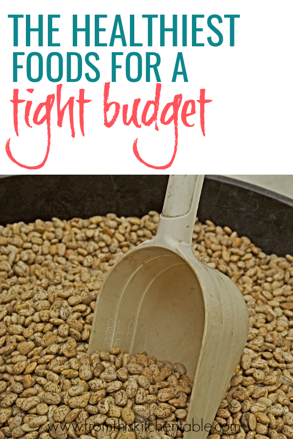picture of beans and a great cheap healthy grocery list that will help you feed your family on a budget.