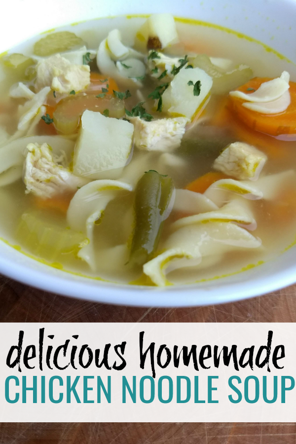 bowl of delicious homemade chicken noodle soup. This chicken veggie noodle soup is healthy, easy, and so good.
