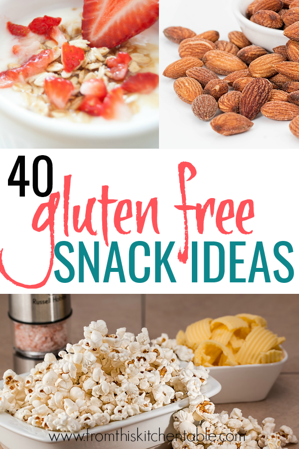 Popcorn, yogurt, and almonds. These are just a few of the 40 gluten free snack ideas for kids!