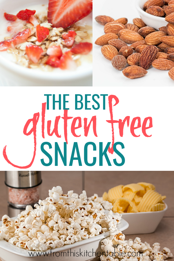 popcorn, almonds, and yogurt! This is a great list of 40 gluten free snack ideas for kids.