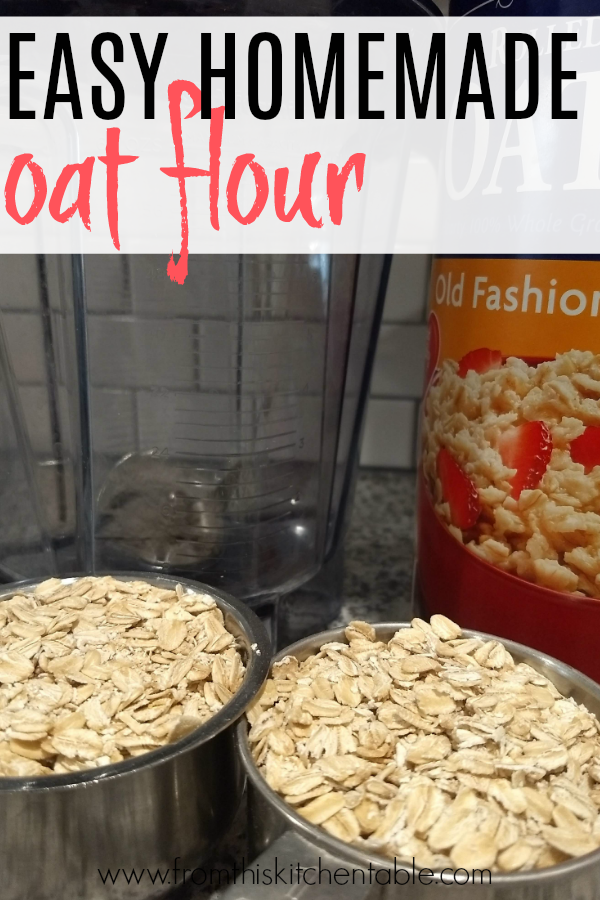 a blender and measuring cups with rolled oats. If you have ever wondered how to make oat flour, this post will tell you how!