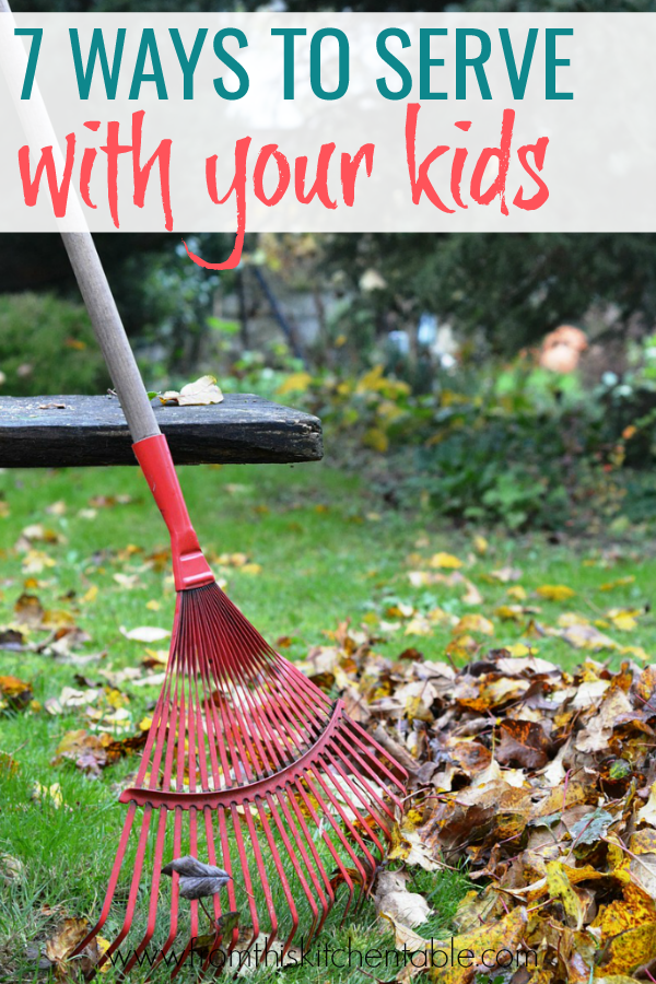 raking a pile of leaves. This is a great list of kid service project ideas!