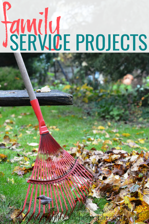 raking a pile of leaves. These are great ideas for kid service projects!